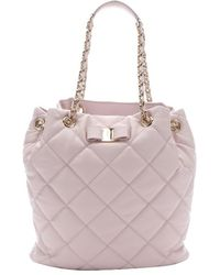 Ferragamo Light Rose Quilted Leather 'Genny' Shoulder Bag - Lyst