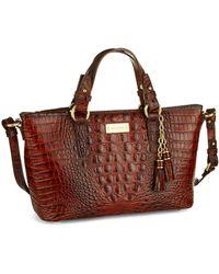 Brahmin Mini Asher Embossed Leather Satchel Bag - Lyst