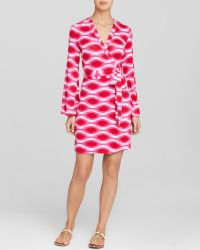 Macbeth Collection - Pink And White Wrap Swim Cover Dress - Lyst