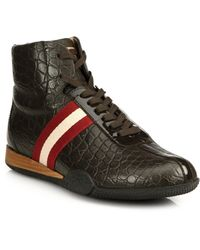 Bally Frendy Croc-Embossed Leather High-Top Sneakers - Lyst