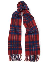 J.Crew | Brilliant Flame Checked Cashmere Scarf | Lyst