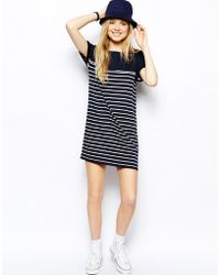 Fred Perry Striped Tshirt Dress - Lyst