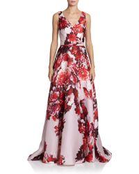 Carolina Herrera Floral Satin Gown - Lyst