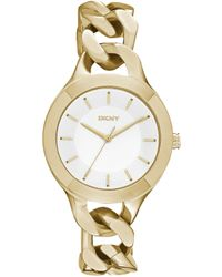 DKNY Chambers Large Goldtone Link Watch - Lyst