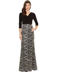 Adrianna Papell - Draped Jersey Cowl Neck With Metallic Rose Embroidered Skirt Detail - Lyst