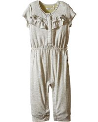 IKKS - Jersey Jumpsuit With Ruffles/snap Front With Cat/pineapple Graphic On Back Snaps Up (infant) - Lyst