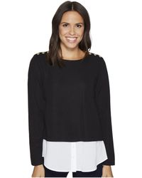 CALVIN KLEIN 205W39NYC - Textured Twofer Top With Buttons - Lyst