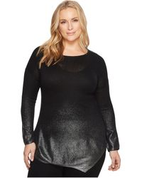 Two By Vince Camuto - Plus Size Long Sleeve Asymmetrical Hem Foil Ombre Dip-dye Sweater - Lyst