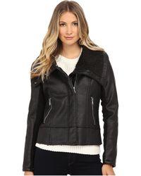Sam Edelman | Pu W/ Oversize Sherpa Collar Moto Jacket | Lyst