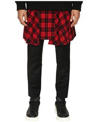e32aae98ed D.GNAK - Pants With Detachable Wrap Check Skirt (black/red) Casual