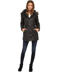 """Marc New York - Kava 32"""" Diamond Quilted Down W/ Faux Fur Hood - Lyst"""