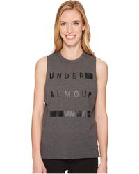6420f33c268f9 Under Armour - Linear Wordmark Muscle Tank Top - Lyst