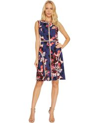 Adrianna Papell - Spliced Floral Print Jersey Dress - Lyst