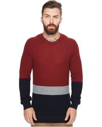 Ben Sherman - Textured Color Block Crew Neck - Lyst