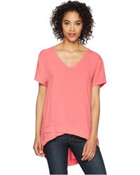 Dylan By True Grit - Pure Cotton Asymmetrical Short Sleeve V-neck - Lyst