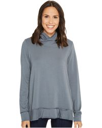 Mod-o-doc - Cotton Modal Spandex French Terry Crossover Funnel Neck Long Sleeve Pullover - Lyst