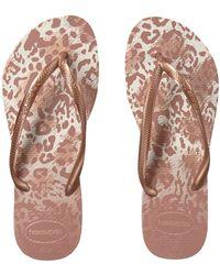 97415116fc002 Lyst - Havaianas Beige Slim Animals Leopard-Print Flip Flops in Natural