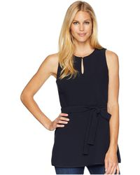 Ellen Tracy - Keyhole Front Peplum Top With Belt - Lyst