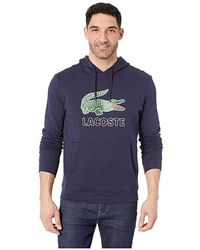 Lacoste - Long Sleeve Graphic Croc Molleton Non Gratte Sweatshirt With Hood (navy Blue) Sweatshirt - Lyst