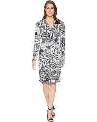 Calvin Klein - Printed Faux Wrap Jersey Dress Cd8ac32r - Lyst
