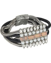 Guess - Wide Multi Snake Chain With Stone Accent & Magnetic Closure Bracelet - Lyst