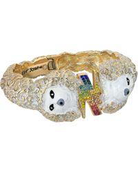 Betsey Johnson - White And Gold Poodle Hinge Bangle - Lyst