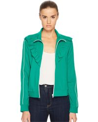 RED Valentino - Jersey Zip-up With Ruffle Detail - Lyst