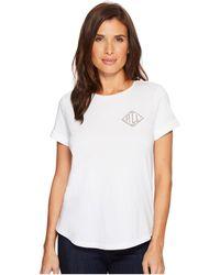 Lauren by Ralph Lauren - Bullion-embroidered Jersey T-shirt - Lyst