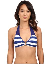 Lauren by Ralph Lauren - Balboa Stripe Ring Front Halter Top W/ Removable Cup - Lyst