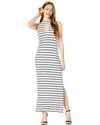 2ce29f52271 Bebe - Deep V Halter Maxi Dress (ellie Stripe) Dress - Lyst