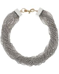 Steve Madden - Beaded Layered Interlock Lobster Necklace - Lyst