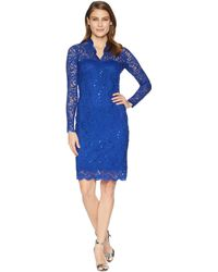 Marina - Long Sleeve Scalloped Stretch Lace Short Dress (royal) Women's Dress - Lyst