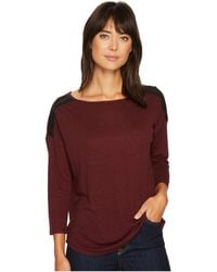 NYDJ - Knit Top W/ Faux Leather Trim - Lyst