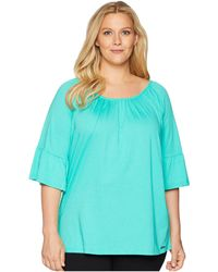 87596c597ae Lyst - MICHAEL Michael Kors Plus Size Mixed Media V-neck Tunic in Green