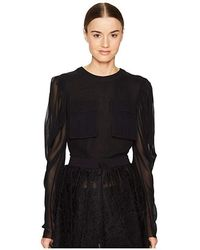 Vera Wang - Long Sleeve Blouse With Patch Pocket (black) Blouse - Lyst