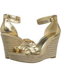 5e51b87f7fe Lyst - MICHAEL Michael Kors Bella Ruffle Detail Wedge Espadrille Sandals