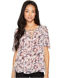 B Collection By Bobeau - Tate Tie Front Blouse - Lyst