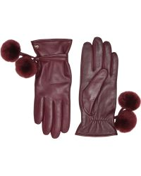 UGG - Sheepskin Pom And Leather Tech Gloves - Lyst