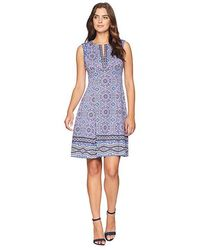 ae3b67d05de Maggy London - Global Medallion Border Printed Scuba Fit And Flare  (grey/blue)
