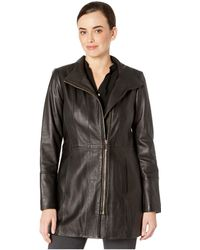 Cole Haan - Smooth Leather Car Coat W/ Convertible Collar - Lyst