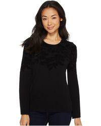 Ellen Tracy - Flared Sleeve Flocked Sweater - Lyst