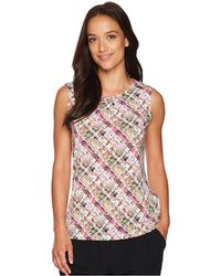 Tahari - Printed Matte Jersey Sleeveless Top - Lyst