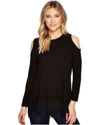 Catherine Malandrino - Cold Shoulder Mixed Media Sweater - Lyst