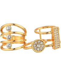 Guess - Three-piece Ring Set With Crystal Stones - Lyst