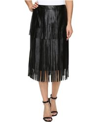 Vince Camuto - Pleather Fringe Tiered Skirt - Lyst