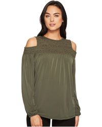 MICHAEL Michael Kors - Metallic Smocked Yoke Top - Lyst