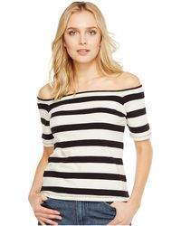 ead595ad738847 Lyst - Helmut Lang Off-the-shoulder Stretch Jersey Tee