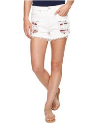 Blank NYC - High-rise Shorts With Embroidered Detail In Lightbox White - Lyst