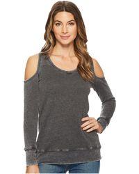 Allen Allen - Long Sleeve Cold Shoulder V-neck Sweatshirt - Lyst