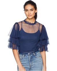 Romeo and Juliet Couture - Ruffle Sleeve Mesh Top - Lyst
